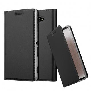 Cadorabo Hülle für Sony Xperia M2 in CLASSY SCHWARZ - Handyhülle mit Magnetverschluss, Standfunktion und Kartenfach - Case Cover Schutzhülle Etui Tasche Book Klapp Style
