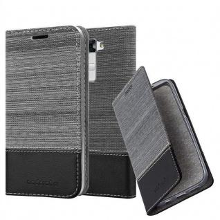 Cadorabo Hülle für LG K7 in GRAU SCHWARZ - Handyhülle mit Magnetverschluss, Standfunktion und Kartenfach - Case Cover Schutzhülle Etui Tasche Book Klapp Style