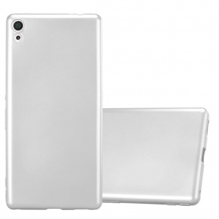 Cadorabo Hülle für Sony Xperia XA ULTRA in METALLIC SILBER - Handyhülle aus flexiblem TPU Silikon - Silikonhülle Schutzhülle Ultra Slim Soft Back Cover Case Bumper