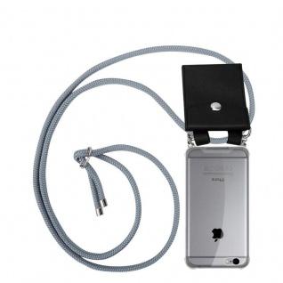 Cadorabo Handy Kette für Apple iPhone 6 PLUS / iPhone 6S PLUS in SILBER GRAU Silikon Necklace Umhänge Hülle mit Silber Ringen, Kordel Band Schnur und abnehmbarem Etui Schutzhülle