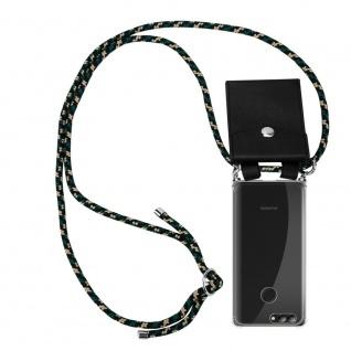 Cadorabo Handy Kette für Huawei NOVA 2 in CAMOUFLAGE Silikon Necklace Umhänge Hülle mit Silber Ringen, Kordel Band Schnur und abnehmbarem Etui Schutzhülle