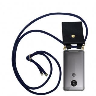 Cadorabo Handy Kette für Motorola MOTO G5 in TIEF BLAU - Silikon Necklace Umhänge Hülle mit Gold Ringen, Kordel Band Schnur und abnehmbarem Etui ? Schutzhülle