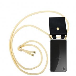 Cadorabo Handy Kette für Sony Xperia XA1 PLUS in CREME BEIGE Silikon Necklace Umhänge Hülle mit Gold Ringen, Kordel Band Schnur und abnehmbarem Etui Schutzhülle
