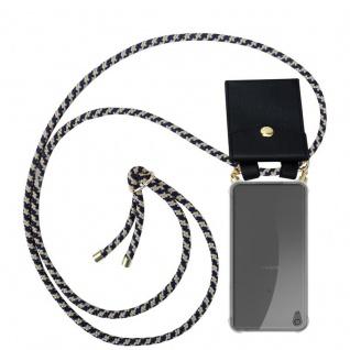 Cadorabo Handy Kette für Sony Xperia XA ULTRA in DUNKELBLAU GELB - Silikon Necklace Umhänge Hülle mit Gold Ringen, Kordel Band Schnur und abnehmbarem Etui ? Schutzhülle