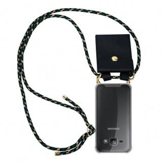 Cadorabo Handy Kette für Samsung Galaxy J1 2015 in CAMOUFLAGE ? Silikon Necklace Umhänge Hülle mit Gold Ringen, Kordel Band Schnur und abnehmbarem Etui ? Schutzhülle - Vorschau 1