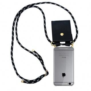 Cadorabo Handy Kette für Apple iPhone 6 PLUS / iPhone 6S PLUS in SCHWARZ SILBER Silikon Necklace Umhänge Hülle mit Gold Ringen, Kordel Band Schnur und abnehmbarem Etui Schutzhülle