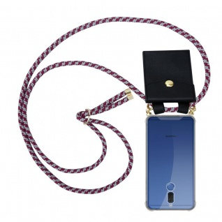 Cadorabo Handy Kette für Huawei MATE 10 LITE in ROT WEISS - Silikon Necklace Umhänge Hülle mit Gold Ringen, Kordel Band Schnur und abnehmbarem Etui ? Schutzhülle