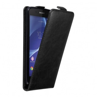 Cadorabo Hülle für Sony Xperia Z2 in NACHT SCHWARZ - Handyhülle im Flip Design mit unsichtbarem Magnetverschluss - Case Cover Schutzhülle Etui Tasche Book Klapp Style