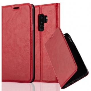 Cadorabo Hülle für Samsung Galaxy S9 PLUS in APFEL ROT - Handyhülle mit Magnetverschluss, Standfunktion und Kartenfach - Case Cover Schutzhülle Etui Tasche Book Klapp Style