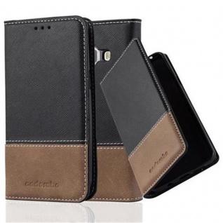 Cadorabo Hülle für Samsung Galaxy J1 2015 in SCHWARZ BRAUN ? Handyhülle mit Magnetverschluss, Standfunktion und Kartenfach ? Case Cover Schutzhülle Etui Tasche Book Klapp Style