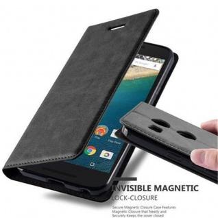 Cadorabo Hülle für LG NEXUS 5X in NACHT SCHWARZ - Handyhülle mit Magnetverschluss, Standfunktion und Kartenfach - Case Cover Schutzhülle Etui Tasche Book Klapp Style