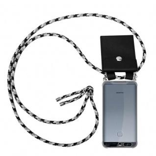 Cadorabo Handy Kette für Huawei P9 in SCHWARZ CAMOUFLAGE - Silikon Necklace Umhänge Hülle mit Silber Ringen, Kordel Band Schnur und abnehmbarem Etui - Schutzhülle