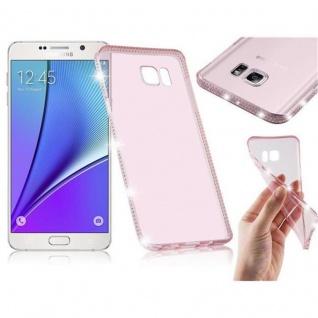 Cadorabo Hülle für Samsung Galaxy NOTE 5 - Hülle in TRANSPARENT ROSA - Handyhülle aus TPU Silikon im Strass Design - Silikonhülle Schutzhülle Ultra Slim Soft Back Cover Case Bumper
