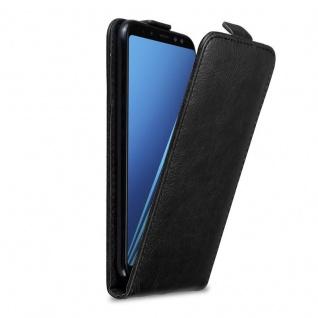 Cadorabo Hülle für Samsung Galaxy A8 2018 in NACHT SCHWARZ - Handyhülle im Flip Design mit Magnetverschluss - Case Cover Schutzhülle Etui Tasche Book Klapp Style