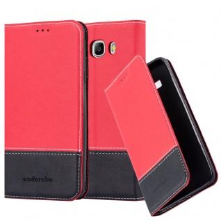 Cadorabo Hülle für Samsung Galaxy J7 2016 in ROT SCHWARZ ? Handyhülle mit Magnetverschluss, Standfunktion und Kartenfach ? Case Cover Schutzhülle Etui Tasche Book Klapp Style