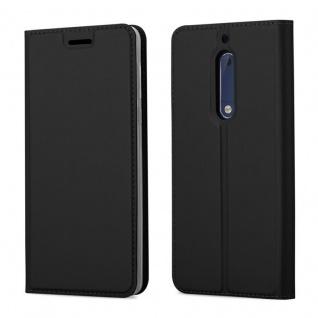 Cadorabo Hülle für Nokia 5 2017 in CLASSY SCHWARZ - Handyhülle mit Magnetverschluss, Standfunktion und Kartenfach - Case Cover Schutzhülle Etui Tasche Book Klapp Style
