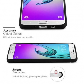 Cadorabo Hülle für Samsung Galaxy J5 2016 (6) - Hülle in BRUSHED SCHWARZ - Handyhülle aus TPU Silikon in Edelstahl-Karbonfaser Optik - Silikonhülle Schutzhülle Ultra Slim Soft Back Cover Case Bumper - Vorschau 2