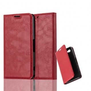 Cadorabo Hülle für Sony Xperia Z2 COMPACT in APFEL ROT - Handyhülle mit Magnetverschluss, Standfunktion und Kartenfach - Case Cover Schutzhülle Etui Tasche Book Klapp Style