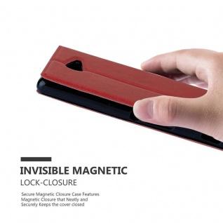 Cadorabo Hülle für Sony Xperia M2 / M2 Aqua in SAFRAN ROT - Handyhülle mit Magnetverschluss, Standfunktion und 2 Sichtfenstern - Case Cover Schutzhülle Etui Tasche Book Klapp Style - Vorschau 5