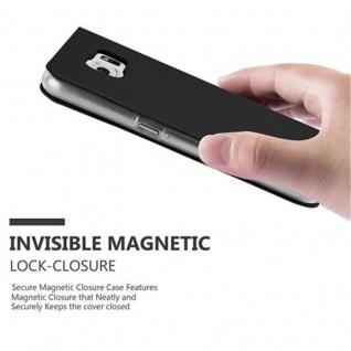 Cadorabo Hülle für Samsung Galaxy S6 in CLASSY SCHWARZ - Handyhülle mit Magnetverschluss, Standfunktion und Kartenfach - Case Cover Schutzhülle Etui Tasche Book Klapp Style - Vorschau 5