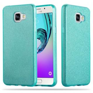 Cadorabo Hülle für Samsung Galaxy A3 2017 (7) - Hülle in STERNENSTAUB TÜRKIS - TPU Silikon und Hardcase Handyhülle im Glitzer Design - Hard Case TPU Silikon Schutzhülle
