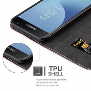 Cadorabo Hülle für Samsung Galaxy J7 2017 in ROSÉ GOLD SCHWARZ ? Handyhülle mit Magnetverschluss, Standfunktion und Kartenfach ? Case Cover Schutzhülle Etui Tasche Book Klapp Style - Vorschau 3