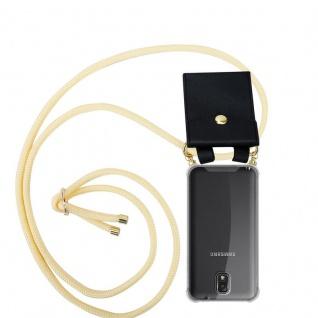 Cadorabo Handy Kette für Samsung Galaxy NOTE 3 in CREME BEIGE - Silikon Necklace Umhänge Hülle mit Gold Ringen, Kordel Band Schnur und abnehmbarem Etui ? Schutzhülle