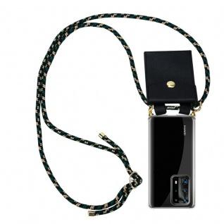 Cadorabo Handy Kette für Huawei P40 Pro+ in CAMOUFLAGE Silikon Necklace Umhänge Hülle mit Gold Ringen, Kordel Band Schnur und abnehmbarem Etui Schutzhülle