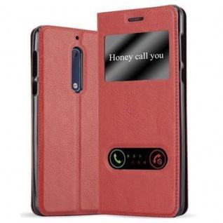 Cadorabo Hülle für Nokia 5 2017 in SAFRAN ROT - Handyhülle mit Magnetverschluss, Standfunktion und 2 Sichtfenstern - Case Cover Schutzhülle Etui Tasche Book Klapp Style