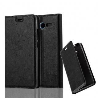 Cadorabo Hülle für ZTE BLADE L3 in NACHT SCHWARZ Handyhülle mit Magnetverschluss, Standfunktion und Kartenfach Case Cover Schutzhülle Etui Tasche Book Klapp Style