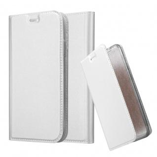 Cadorabo Hülle für Apple iPhone XR in CLASSY SILBER - Handyhülle mit Magnetverschluss, Standfunktion und Kartenfach - Case Cover Schutzhülle Etui Tasche Book Klapp Style