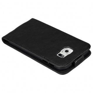 Cadorabo Hülle für Samsung Galaxy S6 in NACHT SCHWARZ - Handyhülle im Flip Design mit unsichtbarem Magnetverschluss - Case Cover Schutzhülle Etui Tasche Book Klapp Style - Vorschau 3