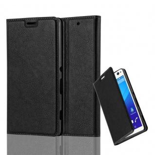 Cadorabo Hülle für Sony Xperia C4 in NACHT SCHWARZ - Handyhülle mit Magnetverschluss, Standfunktion und Kartenfach - Case Cover Schutzhülle Etui Tasche Book Klapp Style