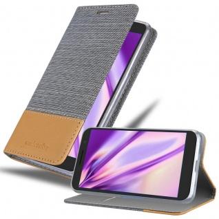 Cadorabo Hülle für Alcatel 1X 2019 in HELL GRAU BRAUN - Handyhülle mit Magnetverschluss, Standfunktion und Kartenfach - Case Cover Schutzhülle Etui Tasche Book Klapp Style