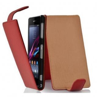 Cadorabo Hülle für Sony Xperia Z1 COMPACT in INFERNO ROT - Handyhülle im Flip Design aus strukturiertem Kunstleder - Case Cover Schutzhülle Etui Tasche Book Klapp Style