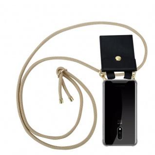 Cadorabo Handy Kette für OnePlus 7 in GLÄNZEND BRAUN Silikon Necklace Umhänge Hülle mit Gold Ringen, Kordel Band Schnur und abnehmbarem Etui Schutzhülle