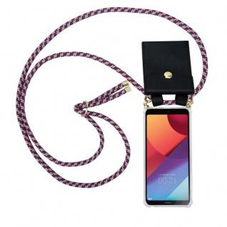 Cadorabo Handy Kette für LG G6 in ROT WEISS - Silikon Necklace Umhänge Hülle mit Gold Ringen, Kordel Band Schnur und abnehmbarem Etui ? Schutzhülle