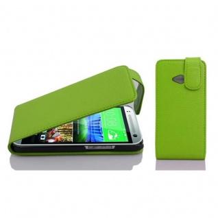 Cadorabo Hülle für HTC ONE M8 MINI (2.Gen.) - Hülle in APFEL GRÜN ? Handyhülle aus strukturiertem Kunstleder im Flip Design - Case Cover Schutzhülle Etui Tasche
