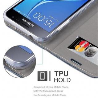 Cadorabo Hülle für Samsung Galaxy J3 2016 in DUNKEL BLAU SCHWARZ - Handyhülle mit Magnetverschluss, Standfunktion und Kartenfach - Case Cover Schutzhülle Etui Tasche Book Klapp Style - Vorschau 3