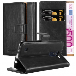Cadorabo Hülle für LG K8 2016 in GRAPHIT SCHWARZ - Handyhülle mit Magnetverschluss, Standfunktion und Kartenfach - Case Cover Schutzhülle Etui Tasche Book Klapp Style
