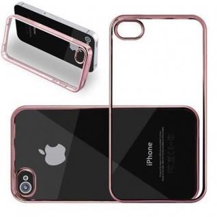 Cadorabo Hülle für Apple iPhone 5 / 5S / SE - Hülle in TRANSPARENT mit CHROM ROSEGOLD ? Handyhülle aus TPU Silikon im Chrom Design - Silikonhülle Schutzhülle Ultra Slim Soft Back Cover Case Bumper