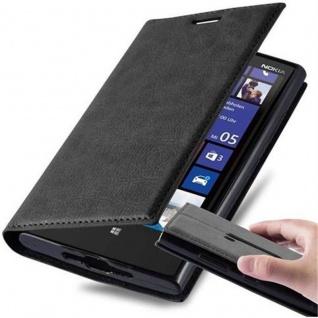 Cadorabo Hülle für Nokia Lumia 920 in NACHT SCHWARZ Handyhülle mit Magnetverschluss, Standfunktion und Kartenfach Case Cover Schutzhülle Etui Tasche Book Klapp Style