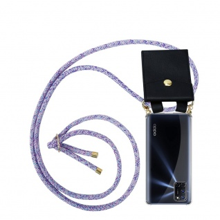 Cadorabo Handy Kette für Oppo A92 in UNICORN Silikon Necklace Umhänge Hülle mit Gold Ringen, Kordel Band Schnur und abnehmbarem Etui Schutzhülle