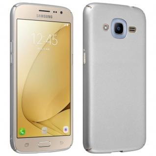 Cadorabo Hülle für Samsung Galaxy J2 2016 in METALL SILBER Hardcase Handyhülle aus Plastik gegen Kratzer und Stöße Schutzhülle Bumper Ultra Slim Back Case Hard Cover