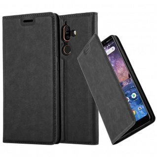 Cadorabo Hülle für Nokia 7 PLUS in NACHT SCHWARZ - Handyhülle mit Magnetverschluss, Standfunktion und Kartenfach - Case Cover Schutzhülle Etui Tasche Book Klapp Style