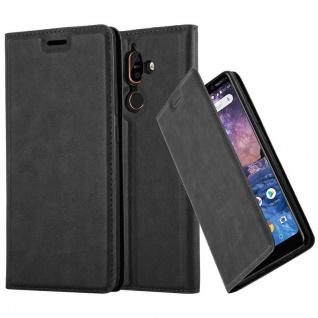 Cadorabo Hülle für Nokia 7 PLUS in NACHT SCHWARZ Handyhülle mit Magnetverschluss, Standfunktion und Kartenfach Case Cover Schutzhülle Etui Tasche Book Klapp Style