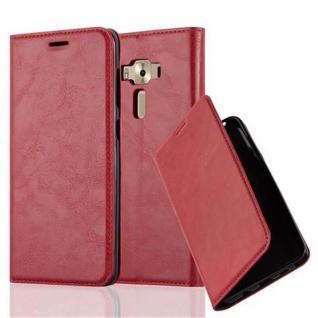 Cadorabo Hülle für Asus ZenFone 3 DELUXE in APFEL ROT - Handyhülle mit Magnetverschluss, Standfunktion und Kartenfach - Case Cover Schutzhülle Etui Tasche Book Klapp Style