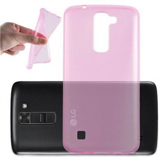 Cadorabo Hülle für LG K7 2016 in TRANSPARENT PINK - Handyhülle aus flexiblem TPU Silikon - Silikonhülle Schutzhülle Ultra Slim Soft Back Cover Case Bumper