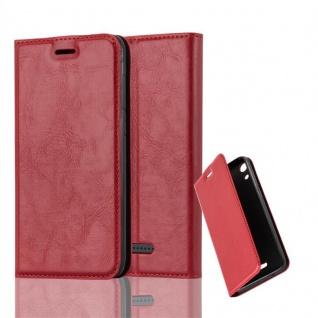 Cadorabo Hülle für WIKO LENNY 4 in APFEL ROT - Handyhülle mit Magnetverschluss, Standfunktion und Kartenfach - Case Cover Schutzhülle Etui Tasche Book Klapp Style
