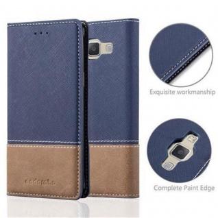Cadorabo Hülle für Samsung Galaxy A3 2015 in DUNKEL BLAU BRAUN ? Handyhülle mit Magnetverschluss, Standfunktion und Kartenfach ? Case Cover Schutzhülle Etui Tasche Book Klapp Style